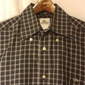 Lacoste button down long sleeve shirt dark blue